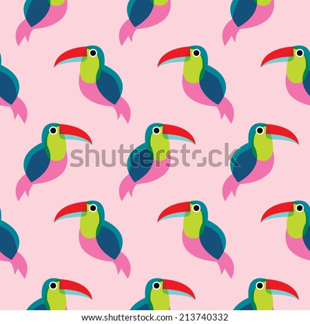 Seamless brazil tucan bird exotic illustration background pattern in vector - stock vector
