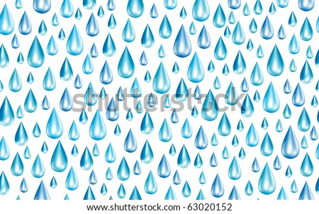 Seamless Bright Blue Raindrops Vector - stock vector