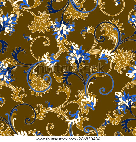 Seamless bright color floral pattern with baroque ornamental elements. Can be used for cards, invitations, fabrics, wallpapers, scrap-booking, ornamental template for design and decoration, etc - stock vector