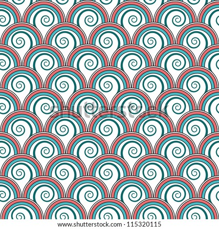 Seamless bright floral background with spiral growing plants