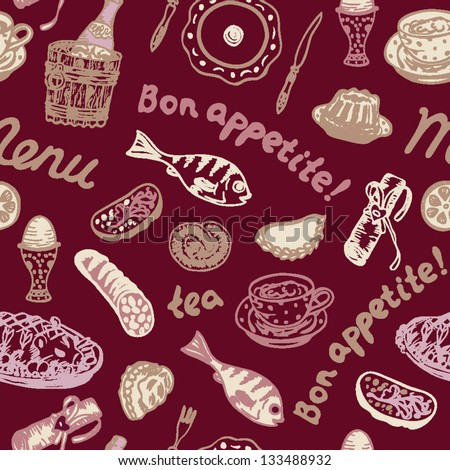 Seamless bright food pattern on the dark red background in vector - stock vector