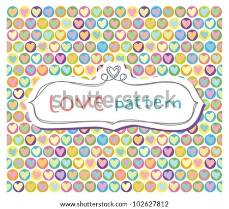 Seamless Bright Pattern with cute hearts - stock vector