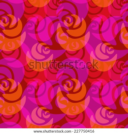 Seamless bright red and pink roses pattern - stock vector
