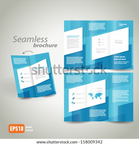 seamless brochure design template folder leaflet geometric abstract element color white line blue background, block for images - stock vector