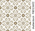 Seamless brown and white floral pattern with vintage flowers (vector) - stock vector