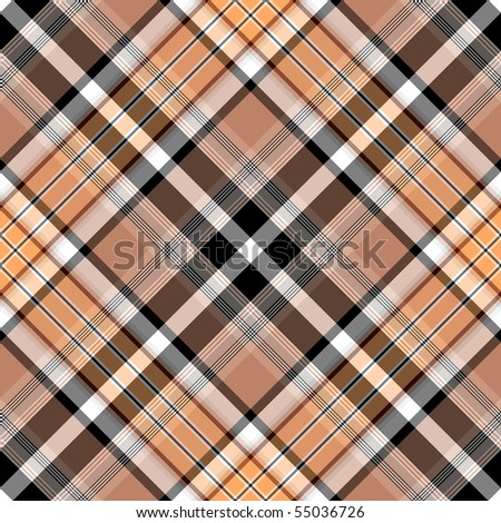 Seamless brown-black-pink checkered diagonal pattern (vector, EPS 10) - stock vector