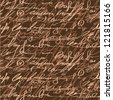 Seamless brown elegance hand write pattern - stock vector