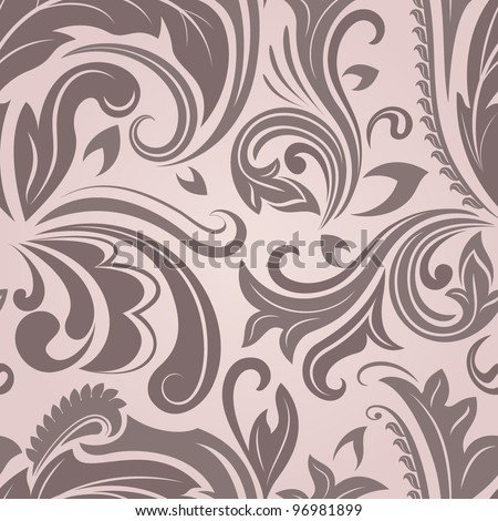 Seamless brown floral vector pattern. - stock vector