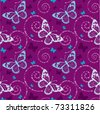 seamless butterfly pattern in purple background - stock vector