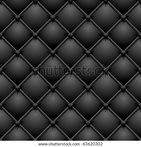 Seamless buttoned black leather vector texture. - stock vector