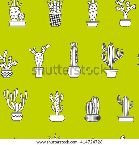 seamless cactus pattern vector illustration  - stock vector