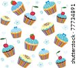 seamless cake pattern isolated on White background. Vector illustration - stock vector