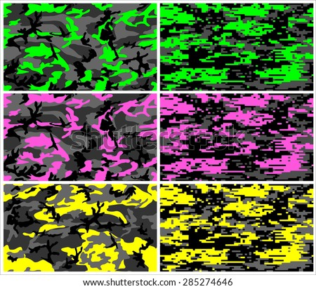 Seamless camouflage fabric pattern shape collection. Military standard and digital texture design in modern colors - green, pink and yellow with black and gray color. isolated vector art background - stock vector