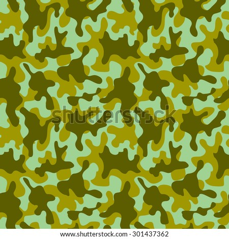 Seamless camouflage pattern. Abstract vector background. Green, khaki. Backgrounds & textures shop. - stock vector