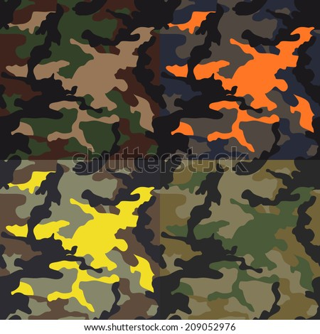 Seamless camouflage pattern in various scheme. Seamless camouflage pattern. Camo background pattern. Camo background vector. - stock vector