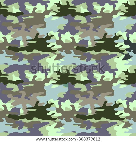 Seamless camouflage pattern. Man fashion. Military textile collection. Khaki on purple. Backgrounds & textures shop. - stock vector