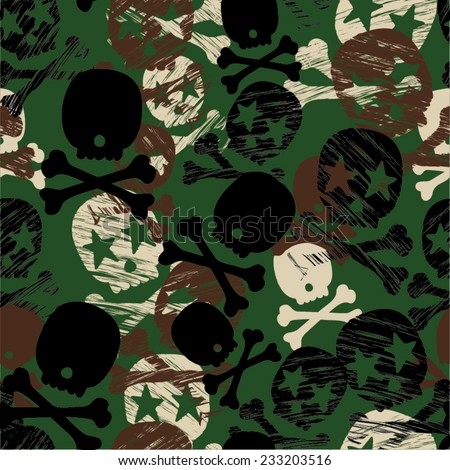 Seamless Camouflage Star Skull Print - Repeating Backgound & Wallpaper - stock vector
