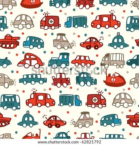 seamless car pattern - stock vector