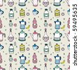 seamless cartoon bottle pattern,vector illustration - stock vector