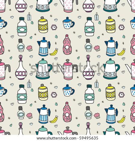 seamless cartoon bottle pattern,vector illustration - stock vector
