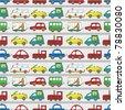 seamless cartoon car pattern - stock vector