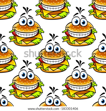 Seamless cartoon cheeseburger pattern with a double helping of cheese and a large toothy smile in a repeat motif - stock vector