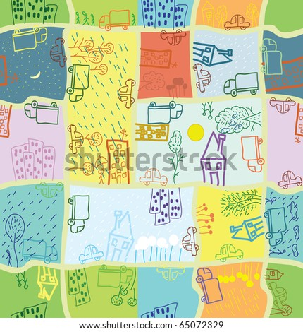 seamless cartoon citizen pattern with different season & weather - stock vector