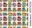 seamless cartoon house/shop pattern - stock vector