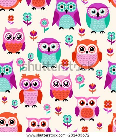 seamless cartoon owls pattern - stock vector