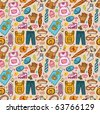 seamless cartoon pattern - stock vector