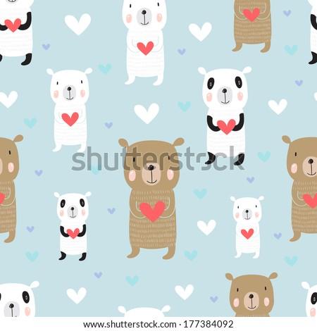 Seamless cartoon pattern with bears. Panda, polar bear and a Russian bear holding heart. - stock vector