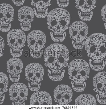 Seamless cartoon pattern with skull. Background - stock vector