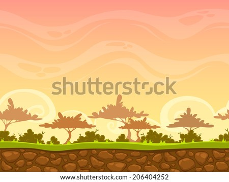 Seamless cartoon savanna landscape, vector unending background with grass, bushes, trees and evening sky layers - stock vector