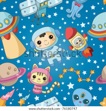 seamless cartoon space pattern - stock vector