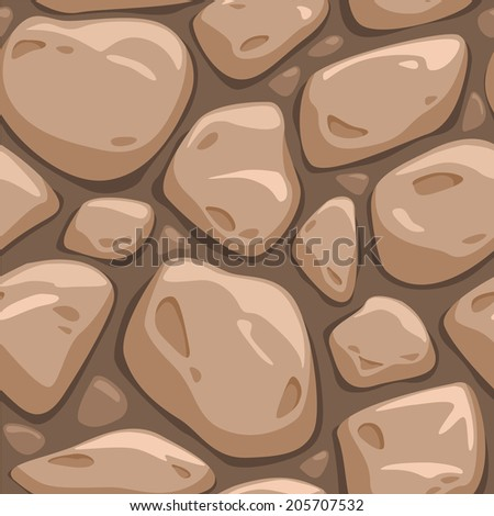 Seamless cartoon stone texture in brown colors, vector pattern - stock vector