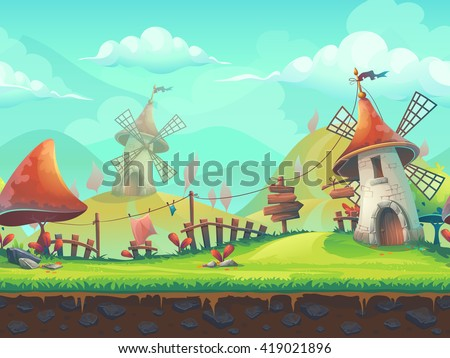Seamless cartoon stylized vector illustration on the theme of the European landscape with a windmill. For print, create videos or web graphic design, user interface, card, poster. - stock vector