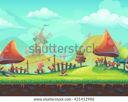 Seamless cartoon stylized vector illustration on the theme of the European landscape with a trees. For print, create videos or web graphic design, user interface, card, poster.
