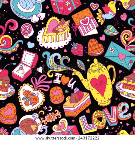 """Seamless cartoon vector pattern for Valentine's Day. Hearts, """"Love"""" lettering, cakes, birds, cards and other romantic elements on a black background. - stock vector"""