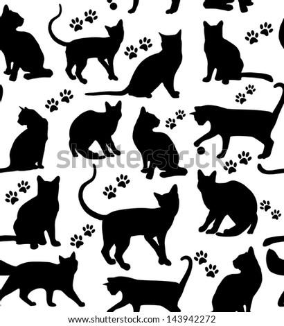 Seamless cats background. - stock vector