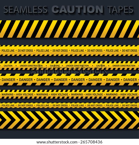 Seamless caution tapes - stock vector
