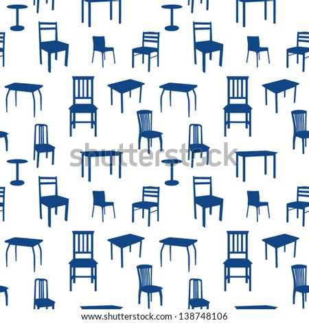 Seamless chairs and tables pattern - stock vector