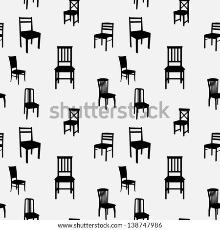 Seamless Chairs Pattern - stock vector