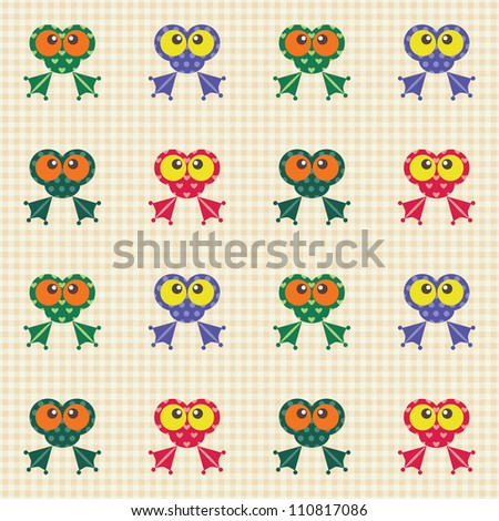 Seamless checked pattern with colorful funny frogs. - stock vector