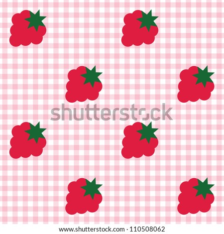 Seamless checked pink and white pattern with raspberries. - stock vector