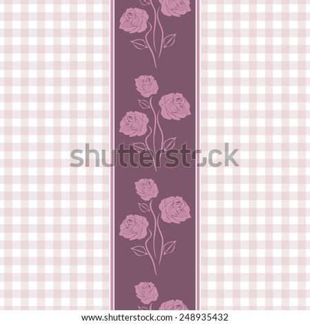 Seamless checkered background with purple stylized roses. Vector