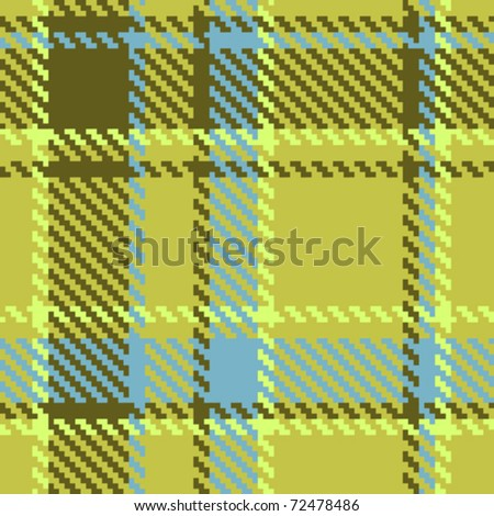 Seamless checkered green blue brown vector pattern - stock vector
