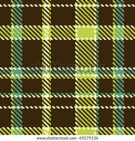 Seamless checkered green brown vector pattern - stock vector