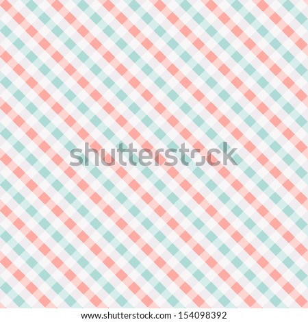 Seamless checkered pattern, coral and turquoise. Can be used for wallpaper, pattern fills, web page background, surface textures - stock vector