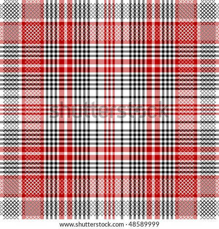 Seamless checkered  pattern with decorative strips (vector EPS 10) - stock vector