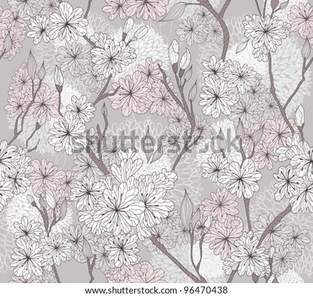 Seamless cherry blossom flowers pattern. Abstract floral pattern. - stock vector